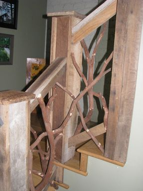 Custom Made Barnwood And Mountain Laurel Interior Railing