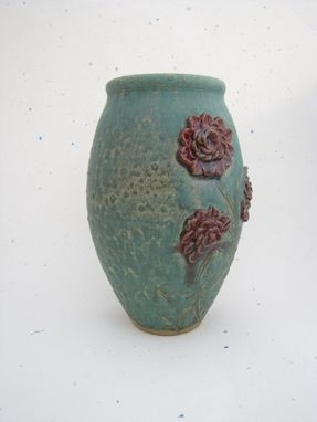 Custom Made Decorative Vase With Floral Design Sage And Red