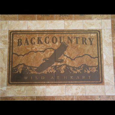 Custom Made Travertine Sign, Micro Etched And Custom Stained