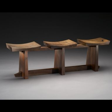 "Custom Made Contemporary 3 Seat Claro Walnut Bench, ""Grafted""."