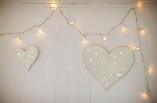 Custom Made Wine Barrel Hoop Heart With Fairy Lights