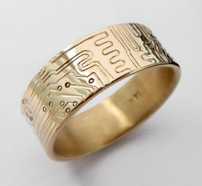 Custom Made Gold Circuit Board Ring In 18k Gold