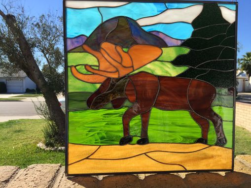 Custom Made Magnificent Moose Stained Glass Window