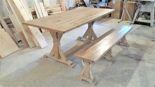Custom Made Reclaimed Wood X Base Dining Room Table And Bench