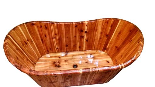 Custom Made Cedar Wooden Freestanding Ofuro Bathtub - Solid Wood