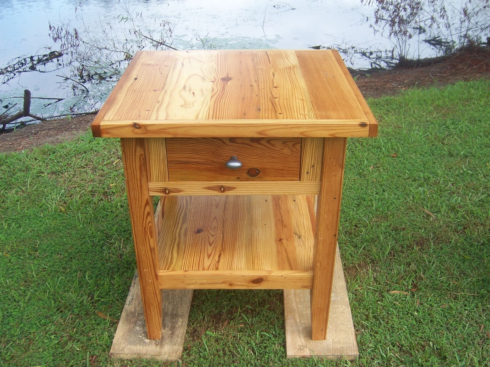 Hand Crafted Antique Heart Pine Side Table By Old Southern