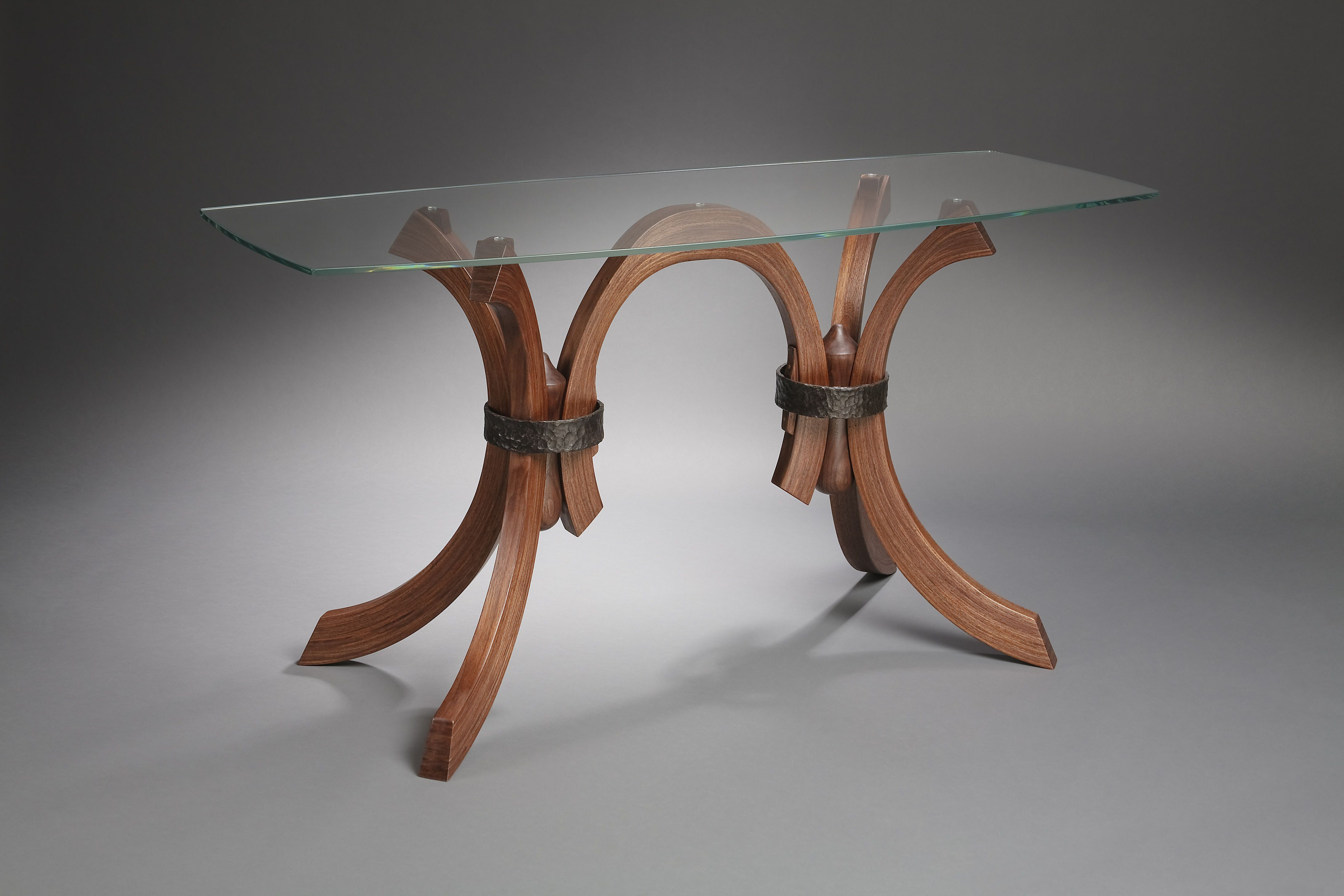 Hand Made Glass Table With Wood And Forged Iron Legs By