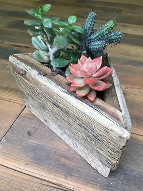 Custom Made Triangular Reclaim Wood Succulent Box