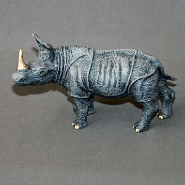 "Custom Made Bronze Rhinoceros ""Rhinoceros Small"" Rhino Figurine Statue Sculpture Limited Edition Signed Numbered"