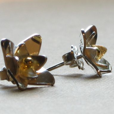 Custom Made Small Sterling Silver Lotus W/ Gold Granule Stud By Cristina Hurley