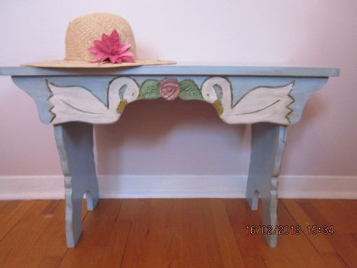 Custom Made Swans And Roses Pine Bench