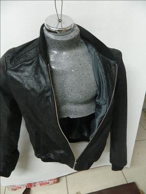 Custom Made Distressed Black Calf Soft Leather Jacket Two Forn Pockets One Inside