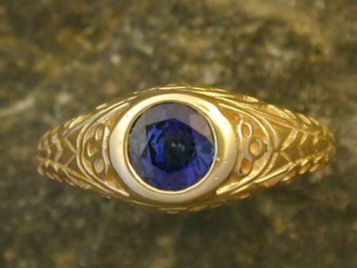 Custom Made 14 K Gold And Fine Sapphire Ring