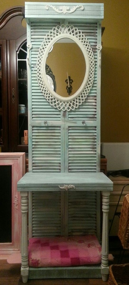 Custom Made Shutter Foyer Table With Light By Unicole