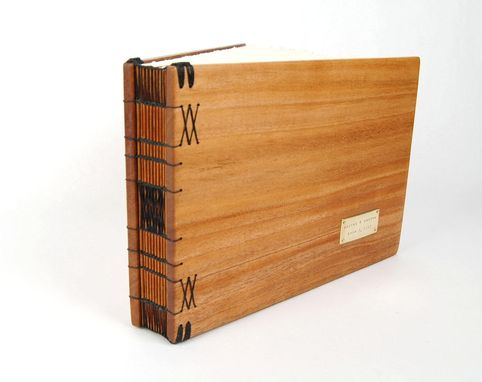 Custom Made Unique Guest Book With Wood Covers - Custom Wedding Personalized Rustic Elegant  Anniversary Gift