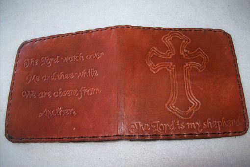 Custom Made Leather Bifold Deluxe Wallet With Cross Desgn