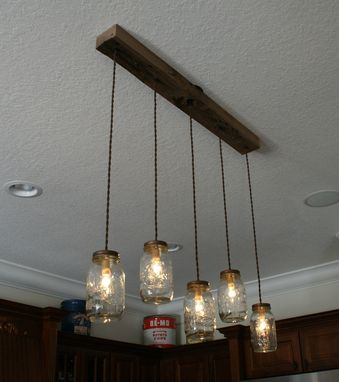 Custom Made Mason Jar Chandelier - Live Edge Black Walnut