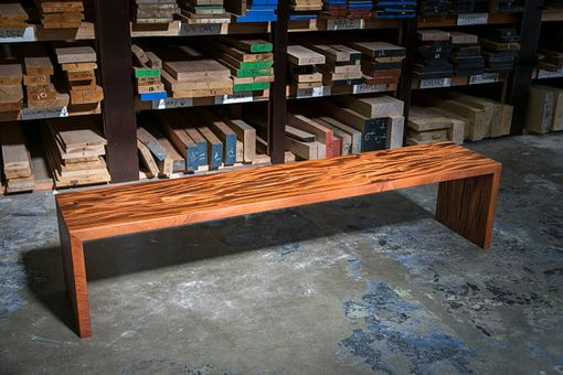 Custom Made African Mahogany Waterfall Bench