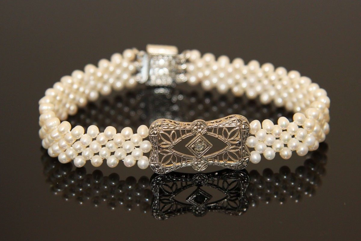 Custom Made Hand Woven Delicate Filigree Pearl Bracelet