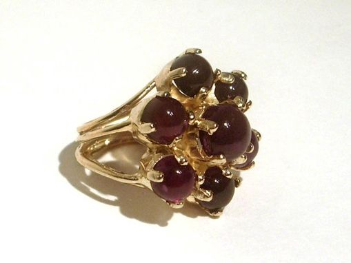 Custom Made Sterling Silver And 18 Kt Gold Vermeil Flower Cocktail Ring With Purple Amethyst Cabochons