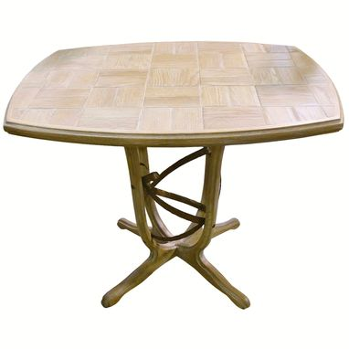 Custom Made Wood Tiled Table With Metal Sculpture Base