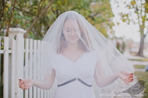 Custom Made Rebecca - Two Layer Ivory Veil With Vintage Lace Pearls And Buttons