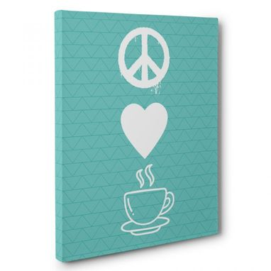 Custom Made Peace Love Coffee Kitchen Canvas Wall Art