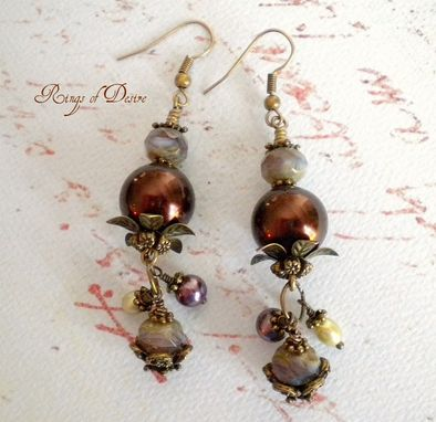 Custom Made Victorian Inspired Brass, Czech Bead, And Pearls Earrings