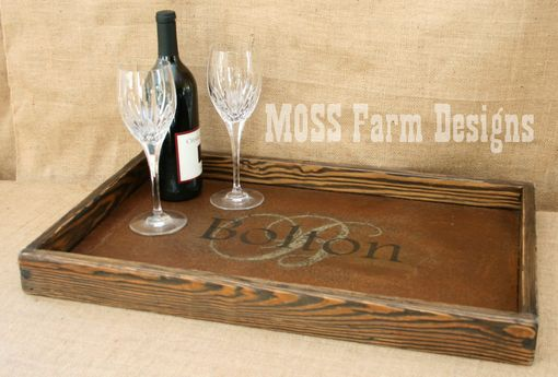 Custom Made Steel & Wood Monogrammed Rustic Modern Serving Breakfast Tray