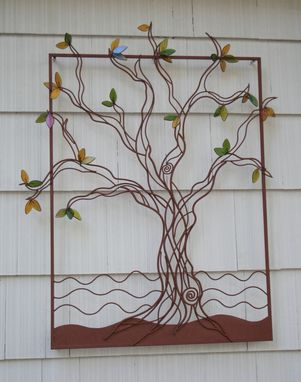 Custom Made Tree, Metal With Fused Glass Leaves