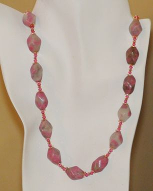 Custom Made Rhodonite With Quartz & Pink Swarovski Crystal Necklace In Gold