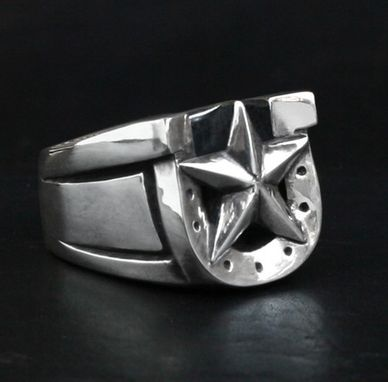 Custom Made Horseshoe Men's Ring In Sterling Silver Lucky Bastard Star