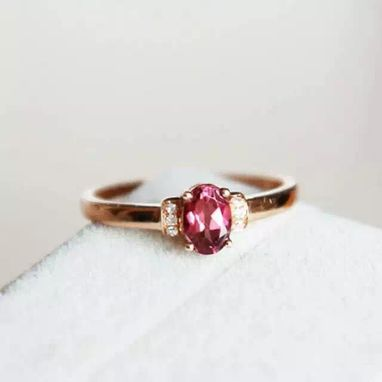 Custom Made 0.52 Carat Rhodolite Garnet Ring In 14k Rose Gold
