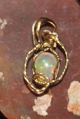 Custom Made Solid, Untreated, 1.4ct Ethiopian Crystal Opal Pendant Wrapped In 14kt Rolled Gold Wire