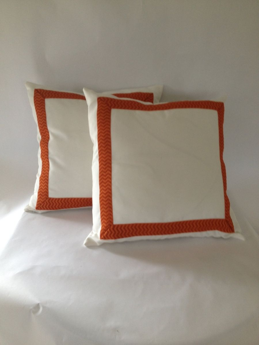 White With Orange Trim Pillow Cover