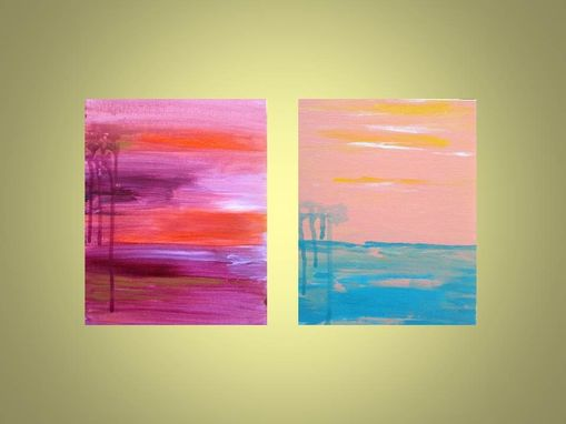 "Custom Made Landscape Painting Abstract 8""X10 Magenta Orange Sunset"