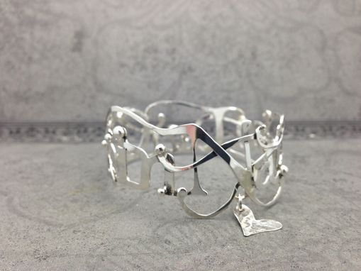 Custom Made Hand Pierced Name Bangle Bracelet - Sterling Silver-Personalized