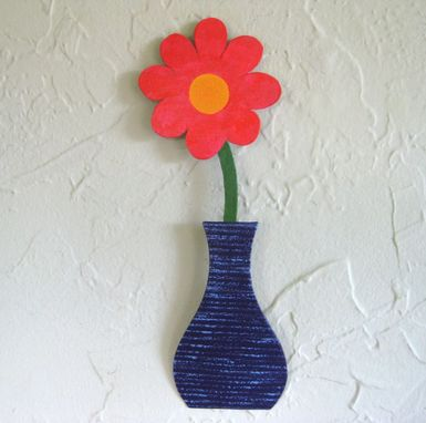 Custom Made Handmade Upcycled Metal Mini Flower Vase Wall Art Sculpture In Purple And Orange