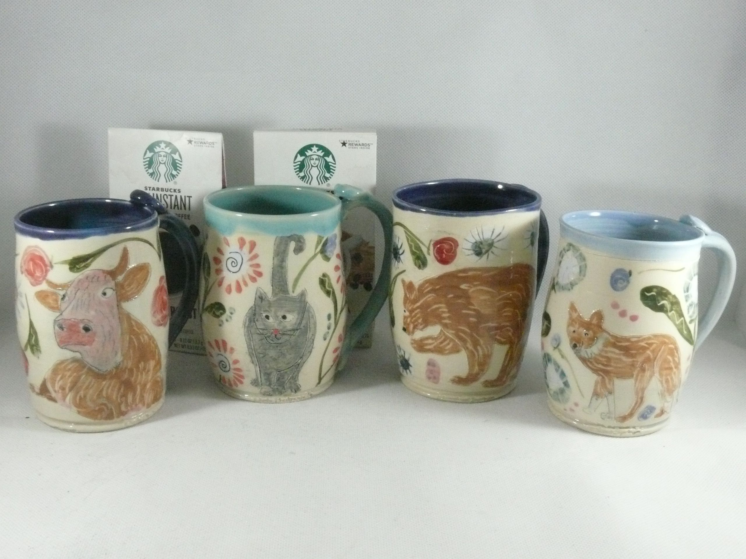 Custom Made Four Coffee Mugs Set Artistic Carved And Glazed Ceramic 16 20