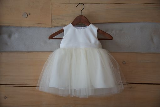 Custom Made Baby Dress - Ivory Satin And Tulle