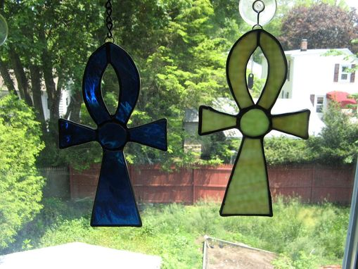 Custom Made Ankh Cross Stained Glass