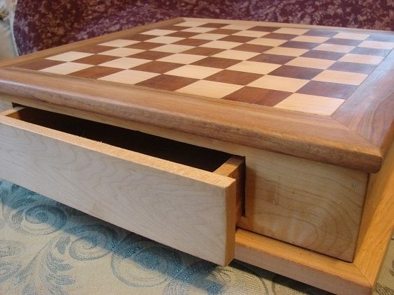 Hand Crafted Hardwood Traditional Chess Board With Drawers