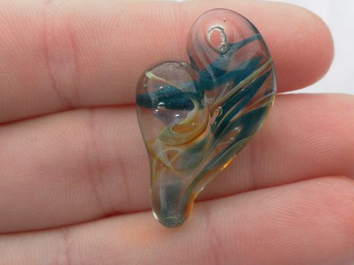 Custom Made Hand-Blown Glass Heart Pendant In Blue And Gold Swirls