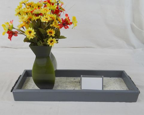 Custom Made Rustic Grey Rectangular Tray, Decorative Coffee Table Tray, Wood Serving Tray
