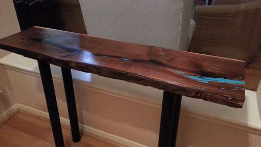 Custom Made Live Edge Walnut Console Table W/ Turquoise Inlay