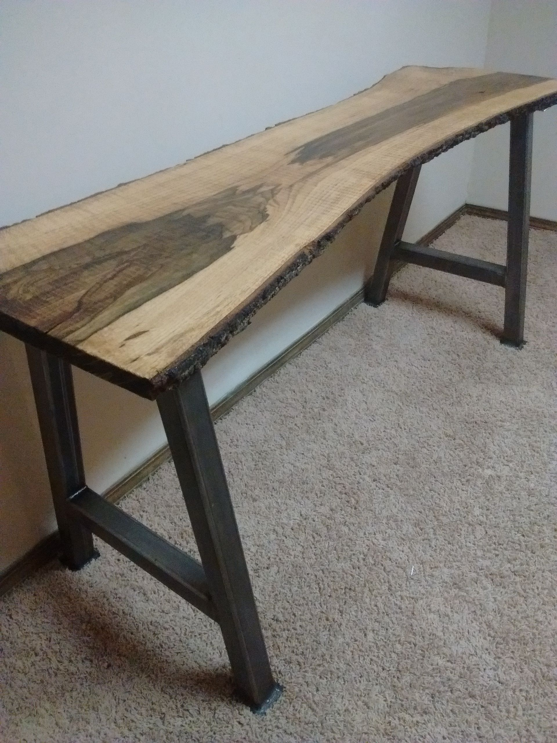 Buy Handmade Live Edge Furniture, Live Edge Blackjack Oak Desk/Table ...