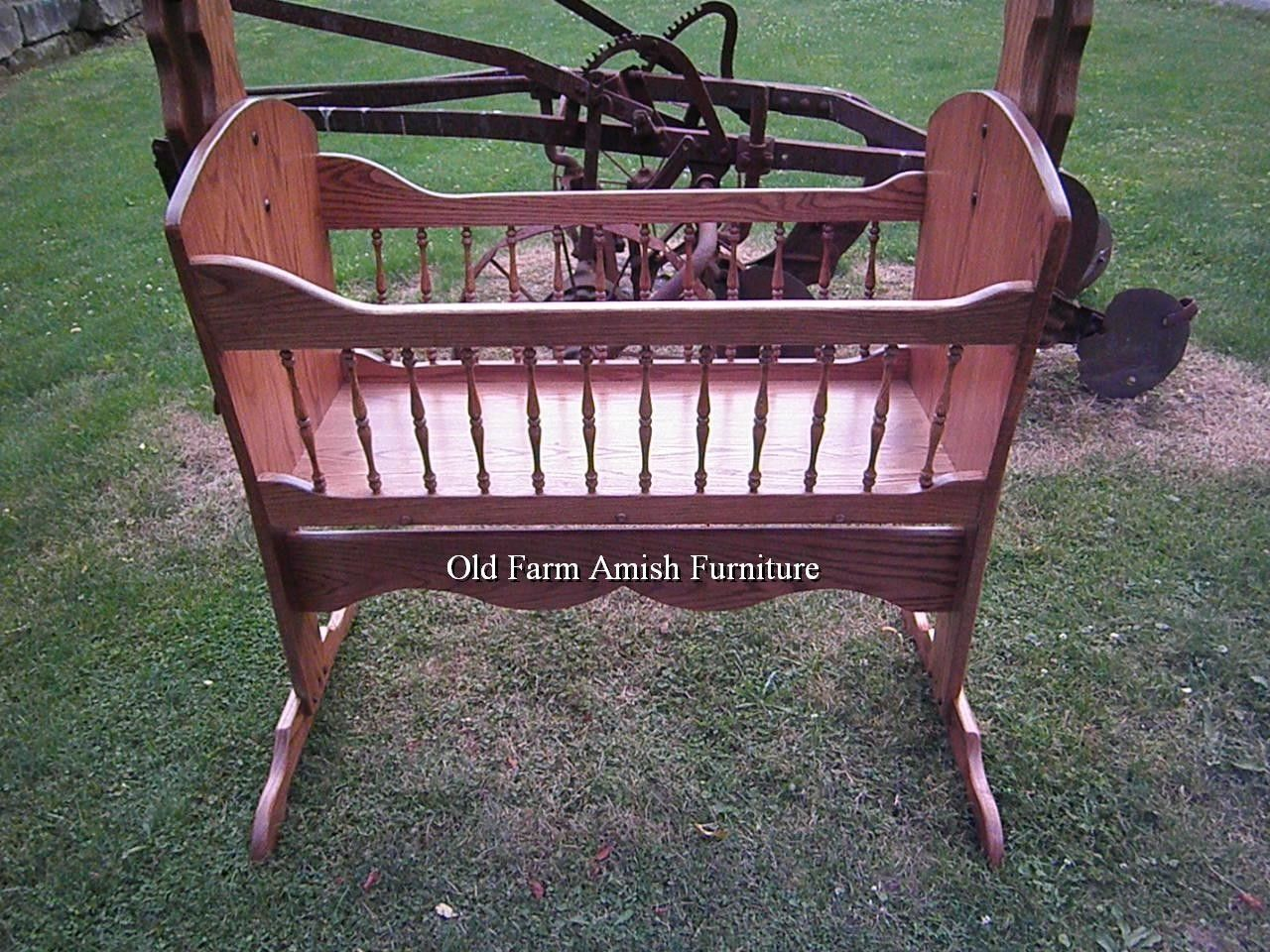Hand Crafted Solid Oak Rocking Baby Cradle By Old Farm Amish