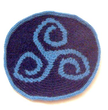 Custom Made Triskel Patch Crocheted In Shades Of Blue