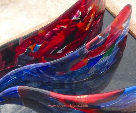 Custom Made Fused Glass Table Sculpture:  Hoe A Mau - Room For New Growth