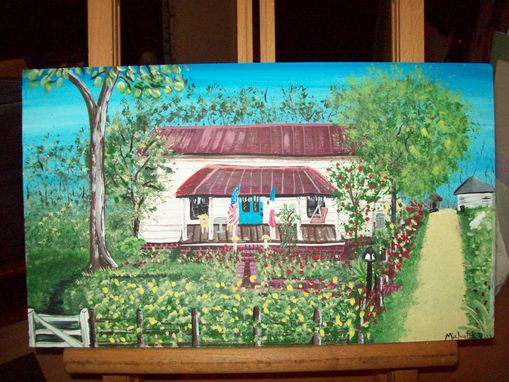 Custom Made Original Painting On Hardwood Titled: Frank's House